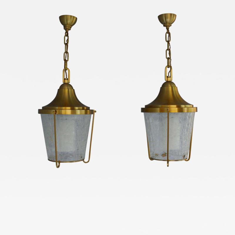 Jean Perzel A Pair of Hanging Bronze and craquel glass Lanterns by Jean Perzel
