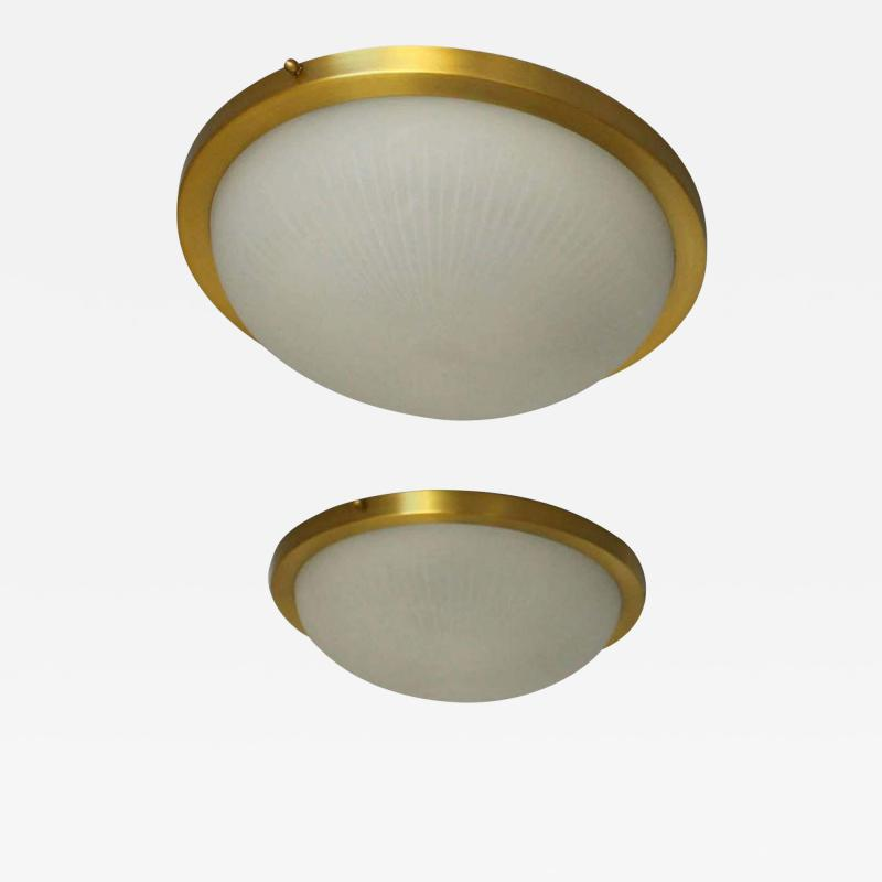 Jean Perzel Pair of Fine French Art Deco Round Glass and Brass Flush Mount by Perzel