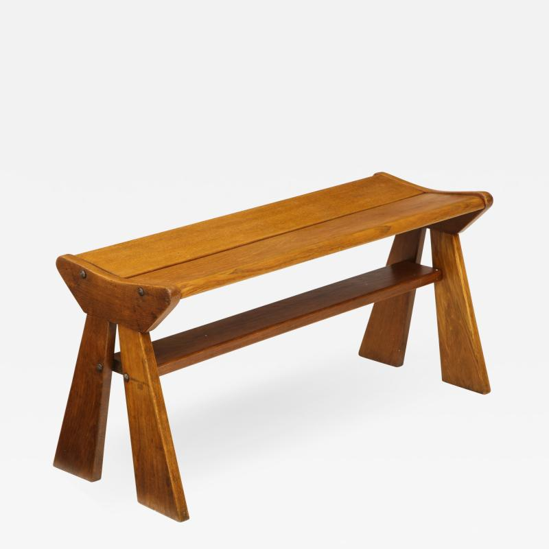 Jean Prouv French Reconstruction era solid oak bench France 1940s