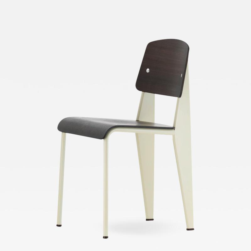 Jean Prouv Jean Prouv Standard Chair in Dark Oak and Ecru White Metal for Vitra