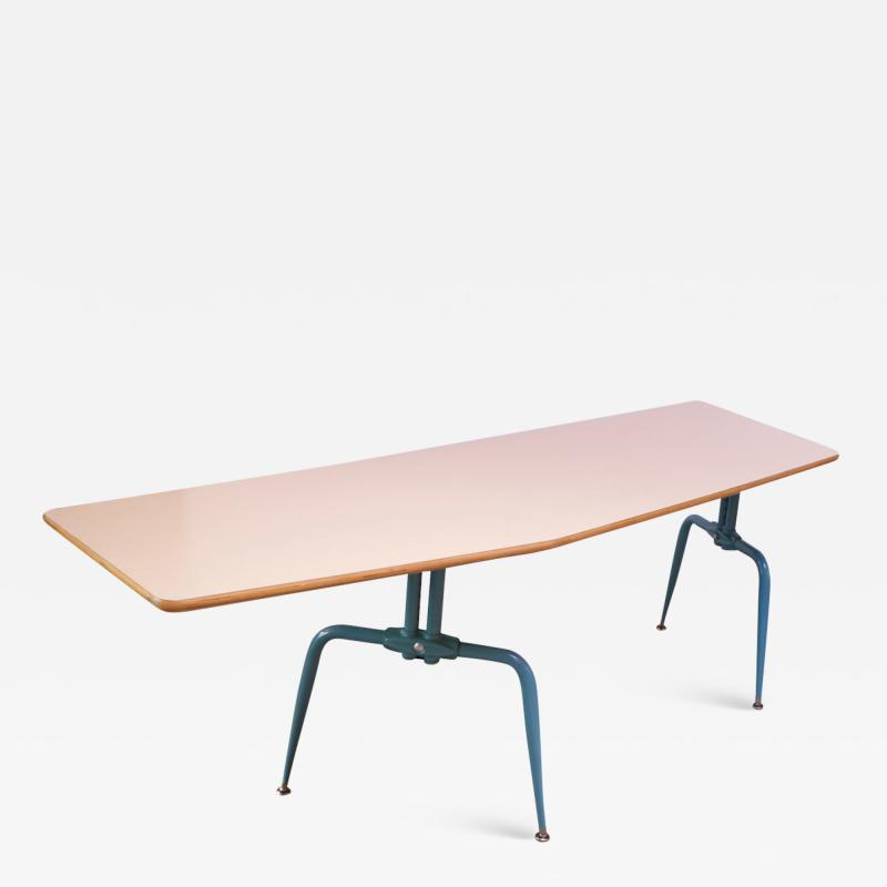 Jean Prouv Vintage French Modern Laminated Plywood and Steel Adjustable Writing Table
