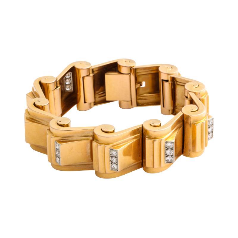 Jean Puiforcat Puiforcat Diamond and Gold Tank Bracelet