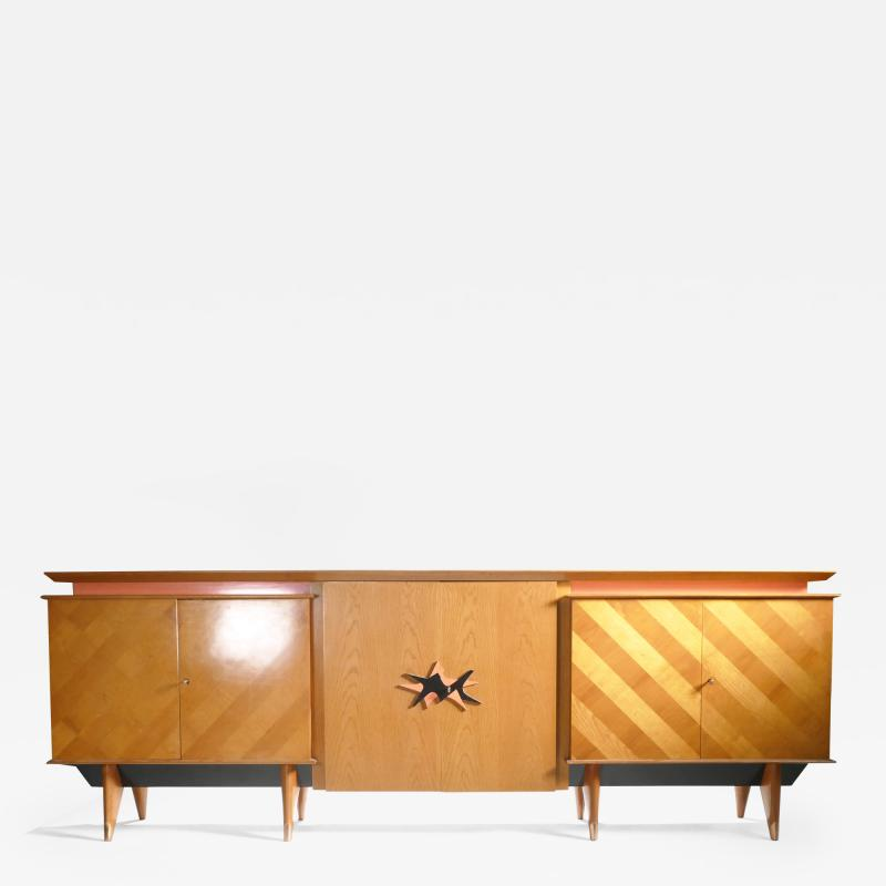 Jean Roy re French Mid century Large modernist oak sideboard Royere style 1950s