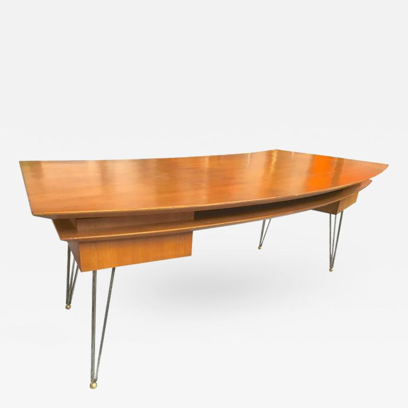 Jean Roy re Jean Roy re Documented Superb Curved Two Drawers Desk with Metal Legs