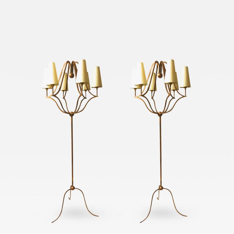 Jean Roy re Jean Roy re Exceptional Pair of Standing Lamp model Jacques