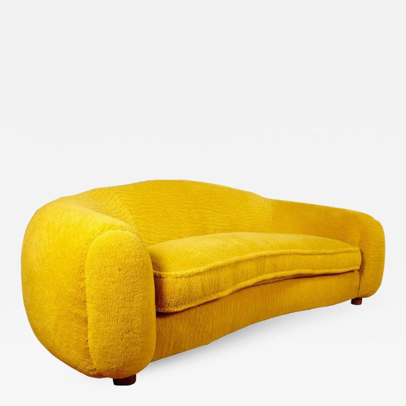 Jean Roy re Jean Roy re Genuine Iconic Ours Polaire Couch in Yellow Wool Faux Fur