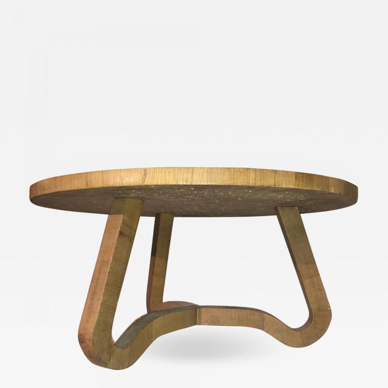 Jean Roy re Jean Roy re Genuine tripod oak coffee table in vintage condition