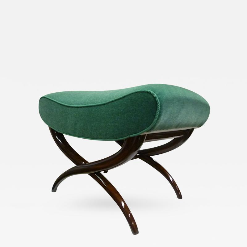 Jean Roy re Jean Roy re X Shaped Bench Newly Upholstered in Mohair Velvet
