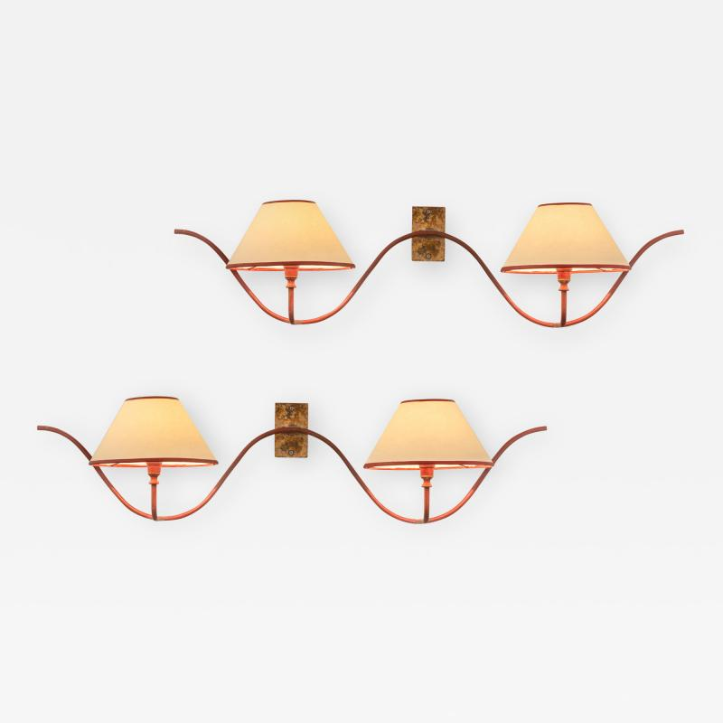 Jean Roy re Jean Royere Attributed A Pair of Two Light Ondulation Sconces