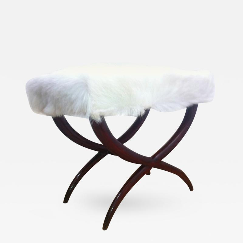 Jean Roy re Jean Royere Goat Hair X Shaped Stool