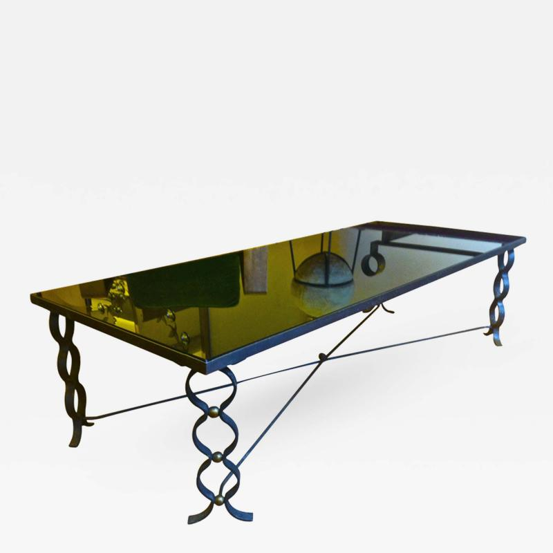 Jean Roy re Jean Royere Long Coffee Table in Wrought Iron Model Ruban with Brass Balls
