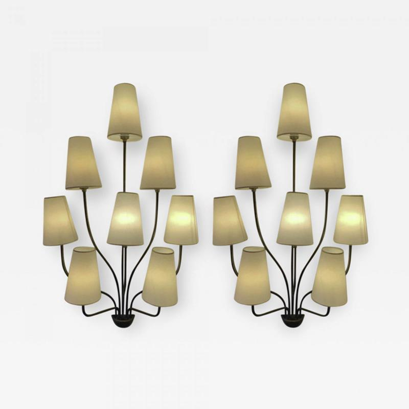 Jean Roy re Jean Royere documented 8 light pair of model Persanne sconces