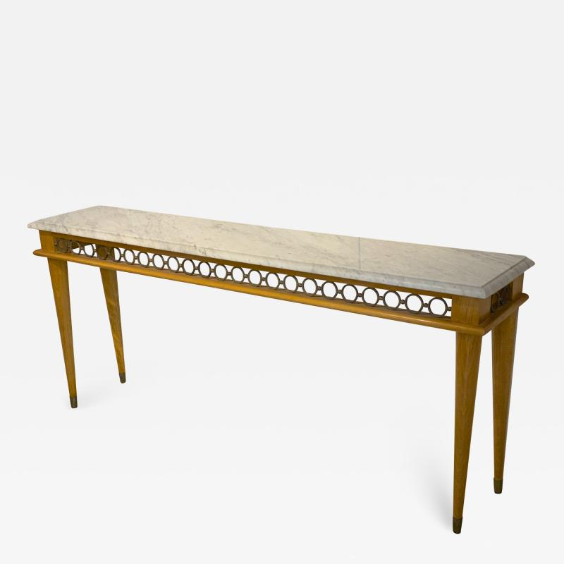 Jean Roy re Jean Royere genuine longest ash tree chicest console with gold bronze accent