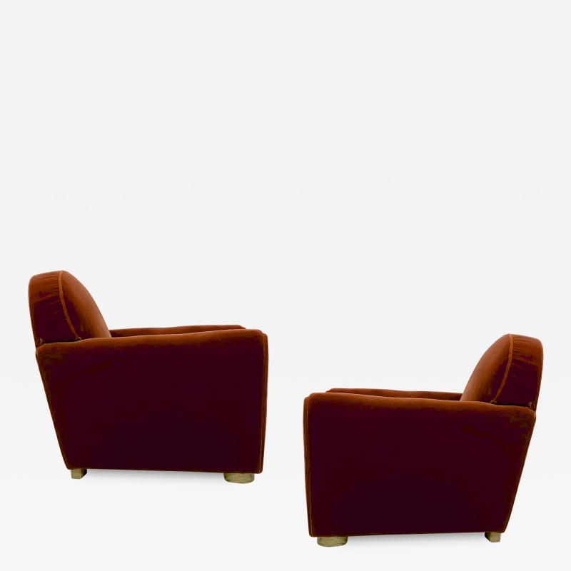 Jean Roy re Jean Royere pair of comfy vintage club chair in original red mohair cloth