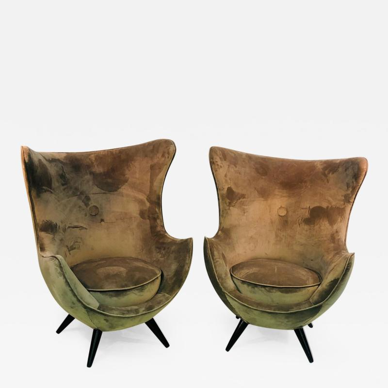 Jean Roy re Pair of Italian Chairs in the Manner of Jean Royere