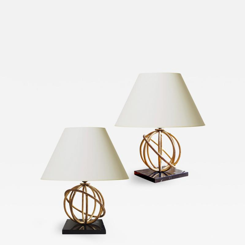 Jean Roy re Pair of Sphere Table Lamps by Jean Royere