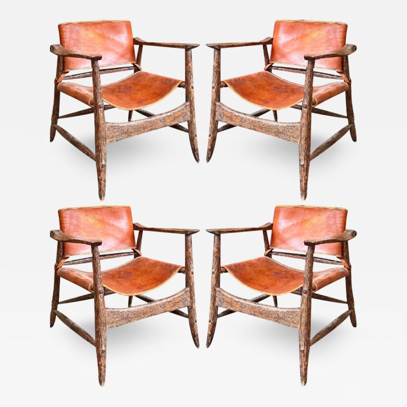 Jean Touret Jean Touret stunning brutalist a la gouge oak set of 4 organic lounge chairs