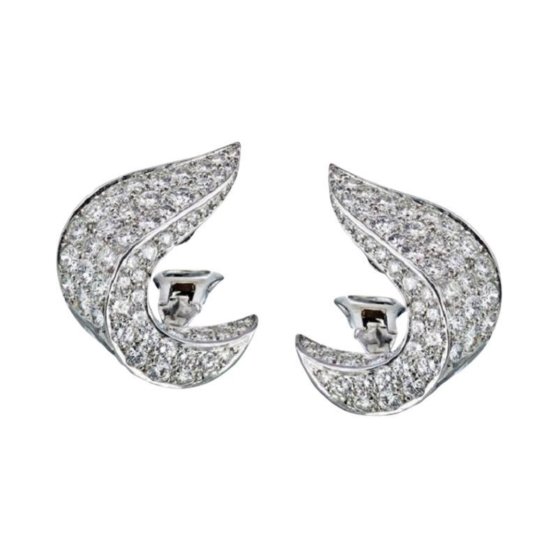 Jean Vitau JEAN VITAU CIRCA 1970S PLATINUM 9 50 CARAT DIAMOND CLIP ON EARRINGS