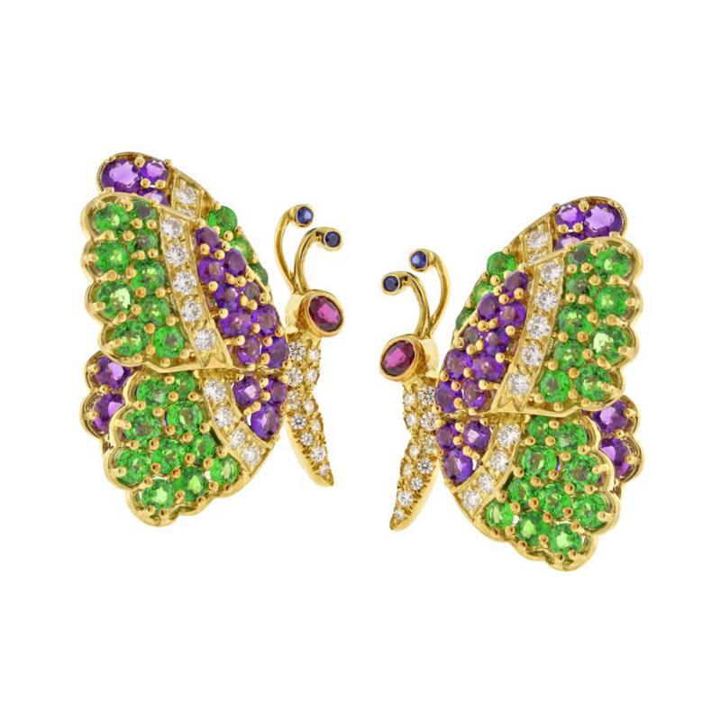 Jean Vitau Jean Vitau Multi Gem Butterfly Earrings