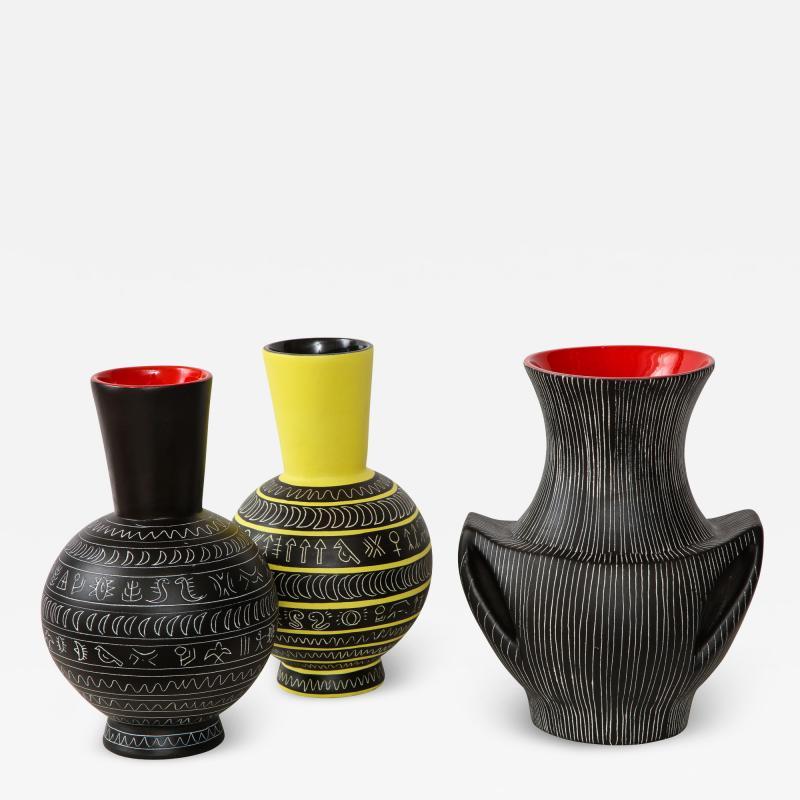 Jean de Lespinasse Set of three ceramic vases by Jean de Lespinasse