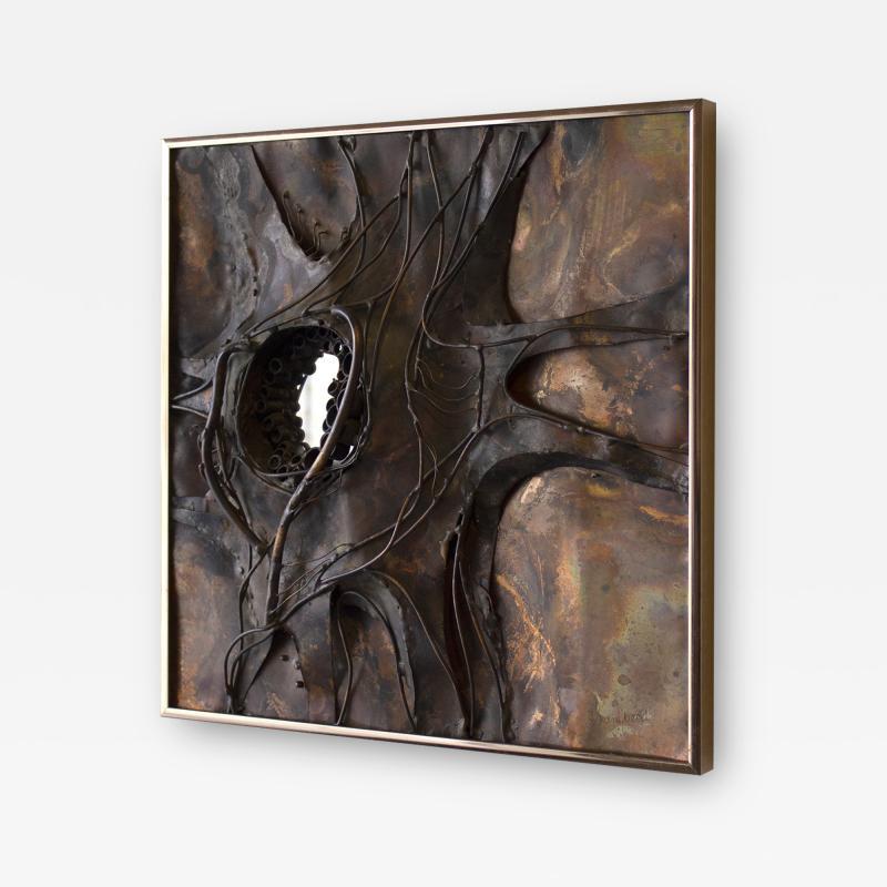 Jeanne Samper Jeanne Samper Brutalist Wall Sculpture in Copper with Mirror 1960s