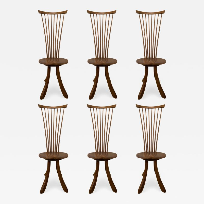 Jeffrey Greene A Set of 6 American Modern Walnut High Back Dining Chairs Jeffrey Greene