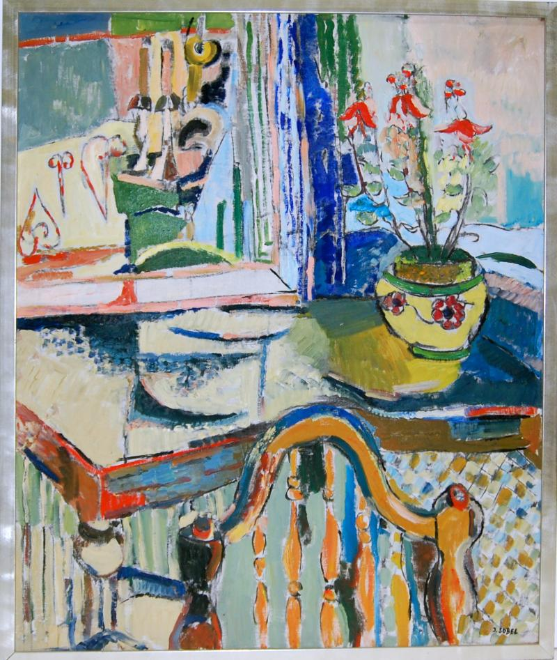 Jehudith Sobel Blue Interior With Table and Flowers