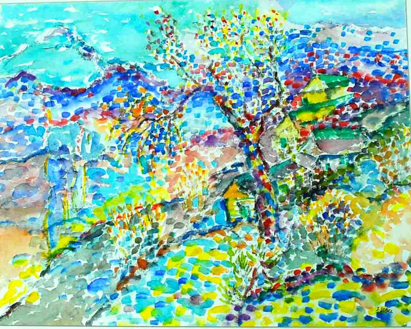 Jehudith Sobel Impressionistic Landscape Watercolor