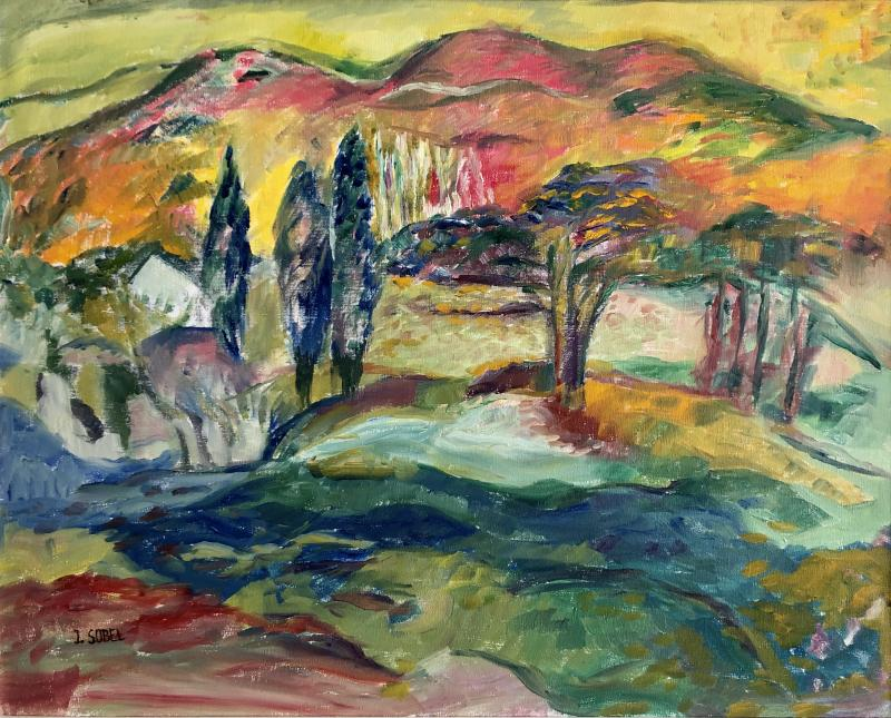 Jehudith Sobel Vibrant Landscape With Mountain View