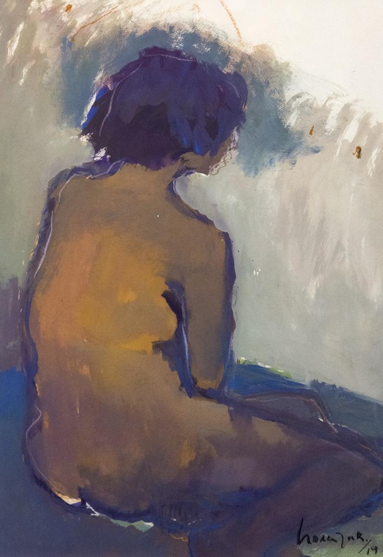 Jennifer Hornyak Nu avec cheveux bleus