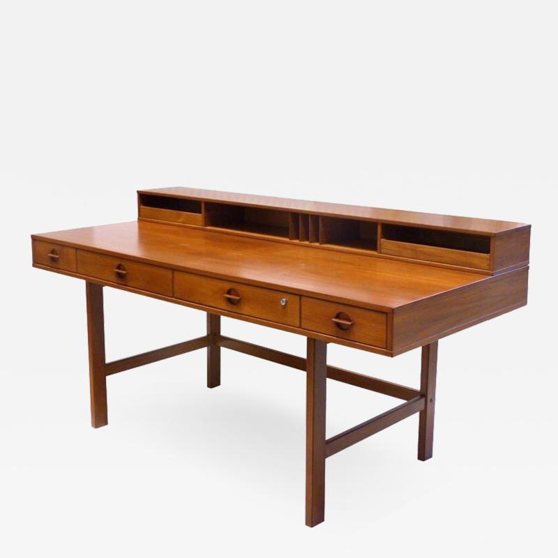 Jens Quistgaard Danish Modern Flip Top Teak Desk by Jens Quistgaard for Peter L vig Nielsen