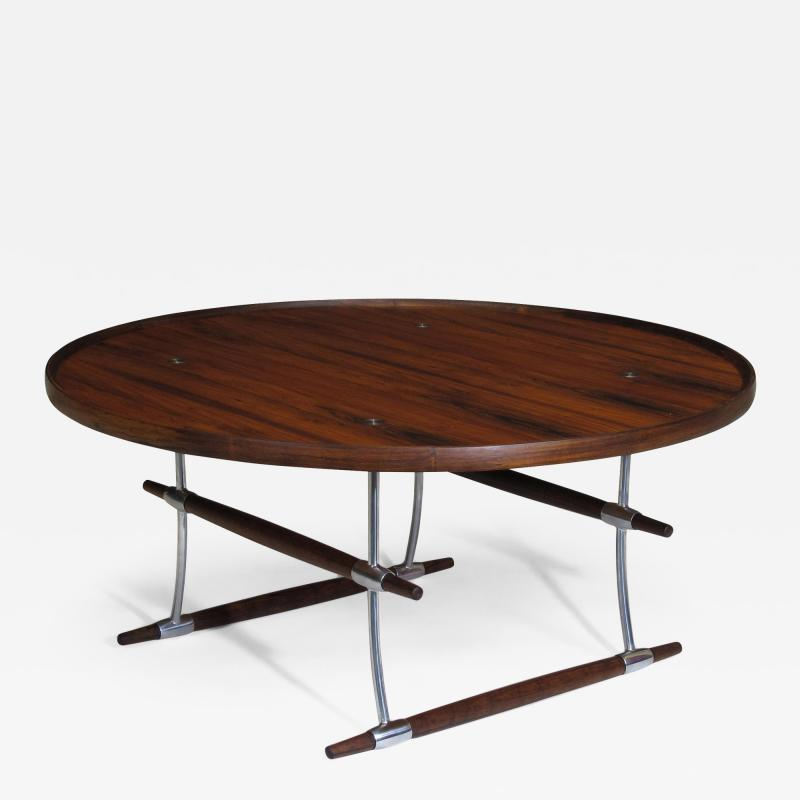 Jens Quistgaard Jens Quistgaard for Nissen Langa Circular Rosewood and Chrome Coffee Table