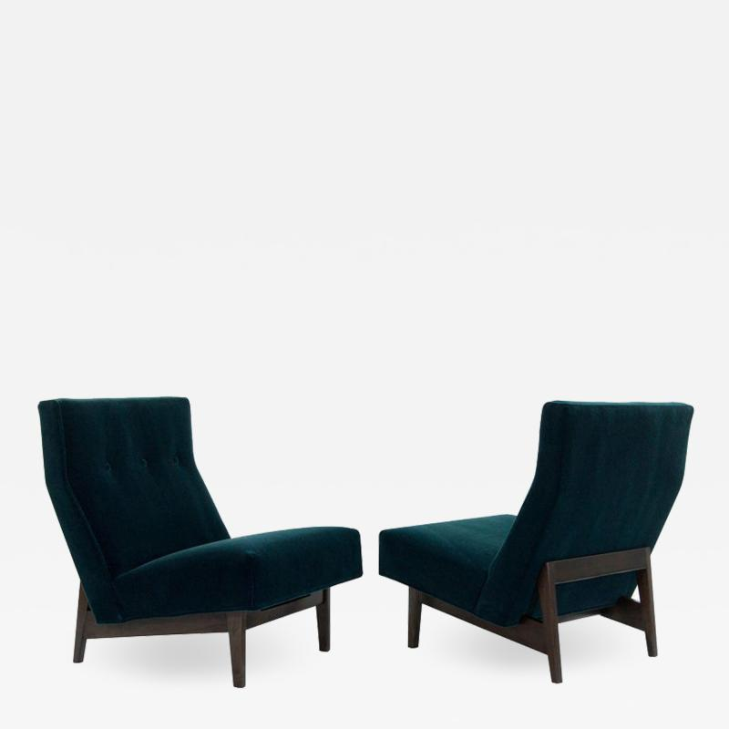 Jens Risom Classic Slipper Chairs by Jens Risom in Teal Mohair circa 1950s