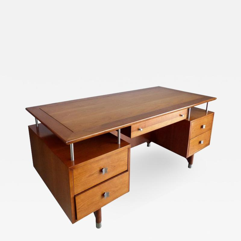 Jens Risom Mid Century Modern Jens Risom Solid Cherry and Chrome Executive Desk