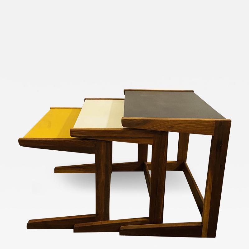 Jens Risom Mid Century Modern Set of Walnut Vinyl Nesting Side Tables By Jens Risom 1960s