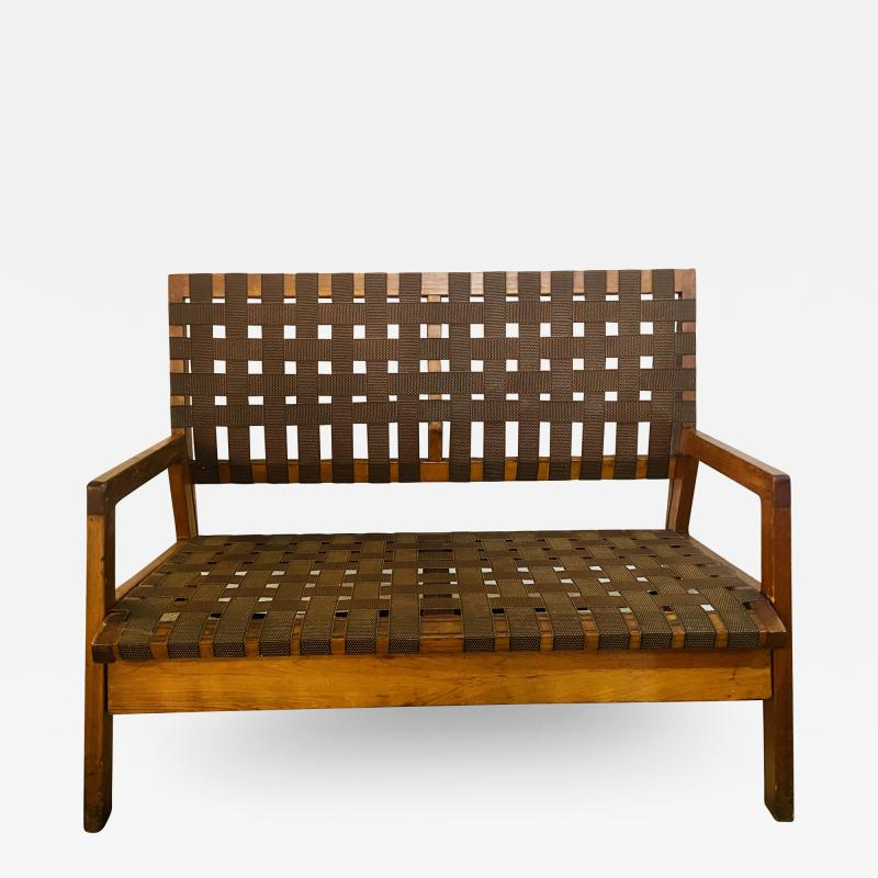 Jens Risom Mid Century Modern Weaved Strap and Canvas Bench in the manner of Jens Risom