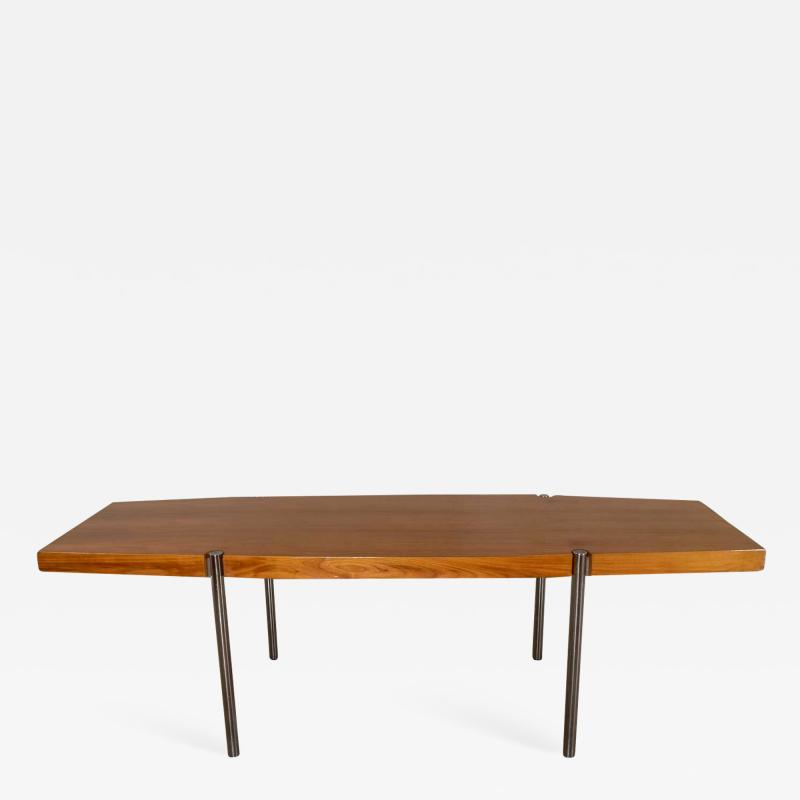 Jens Risom Modern walnut and chrome boat shaped dining conference table by jens risom
