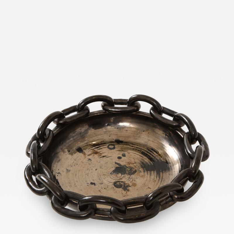 Jerome Massier Jerome Massier Black Ceramic Bowl with Chain Link Detail