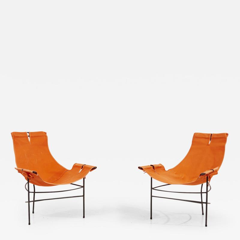 Jerry Johnson Pair of 2 Lounge Chairs by Jerry Johnson in Orange Canvas USA 1950s