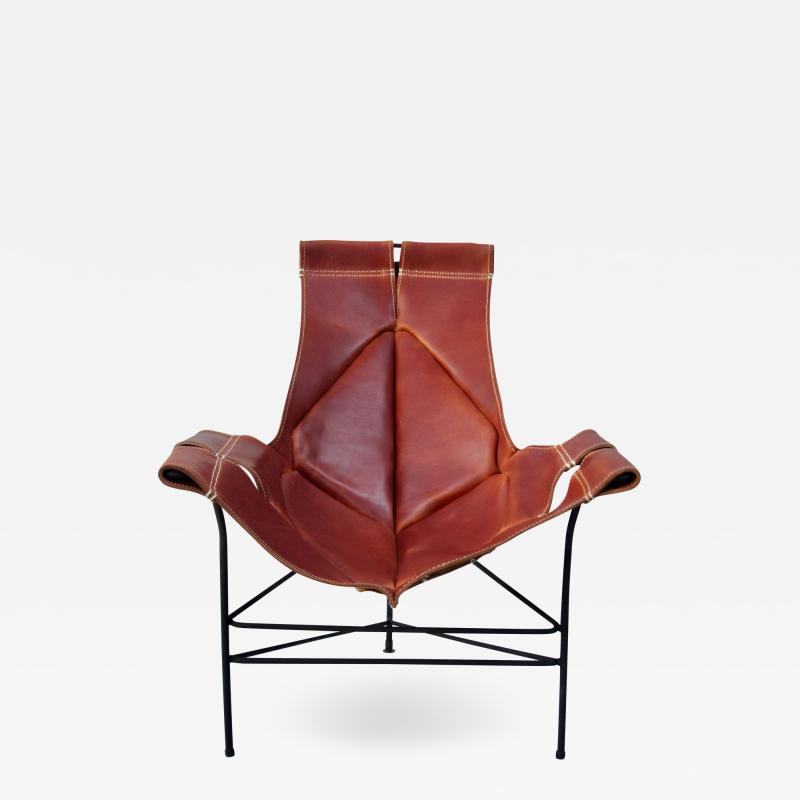 Jerry Johnson Wrought Iron Jerry Johnson Leather Sling Lounge Chair for Leather Crafters 1960