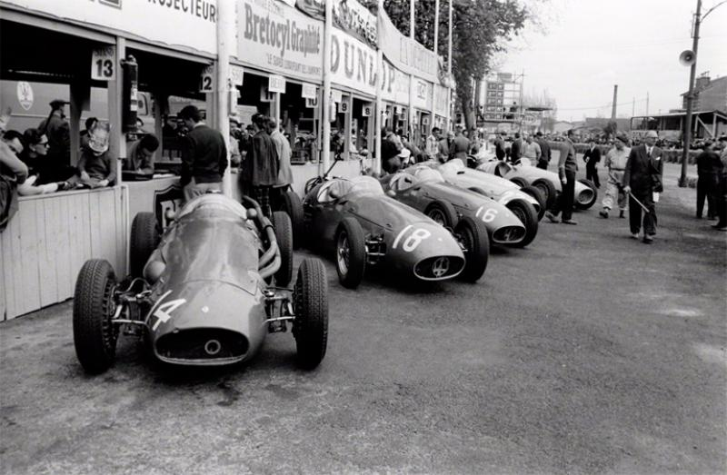 Jesse Alexander Maserati Factory Team Lined up in Pits at Pau France 1955