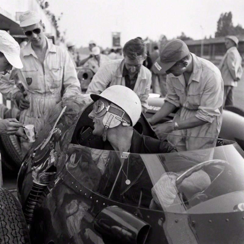 Jesse Alexander Portrait of Stirling Moss in a Vanwall Monza Italy 1958