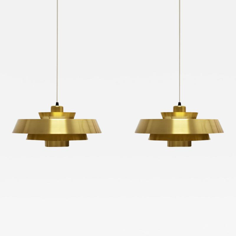 Jo Hammerborg Nova Brass Pendant Light by Jo Hammerborg for Fog M rup 1960s Set of 2