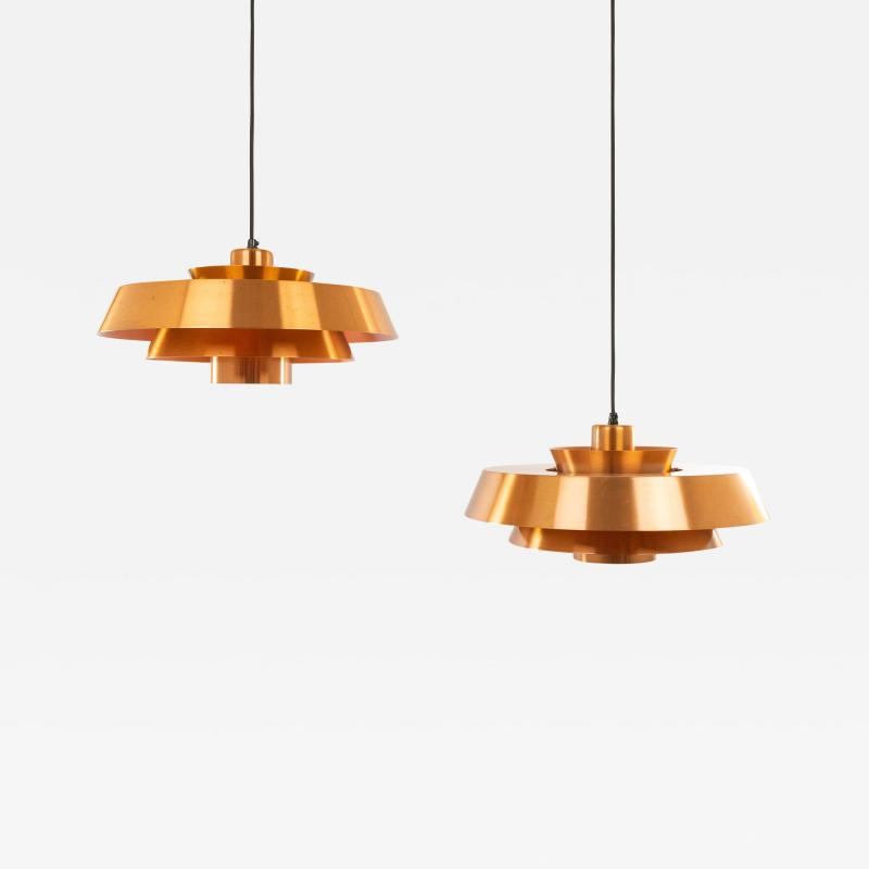 Jo Hammerborg Pair of copper Nova pendants by Jo Hammerborg for Fog M rup 1960s
