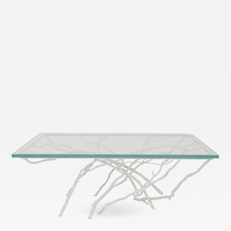 Joan Sherman Contemporary White Painted Iron Faux Twig Design Rectangular Coffee Table