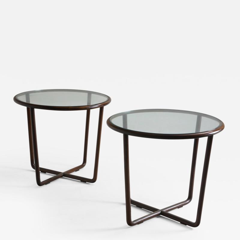 Joaquim Tenreiro Mid Century Modern Side Table in Wood and Glass Top Designed by Joaquim Tenreiro