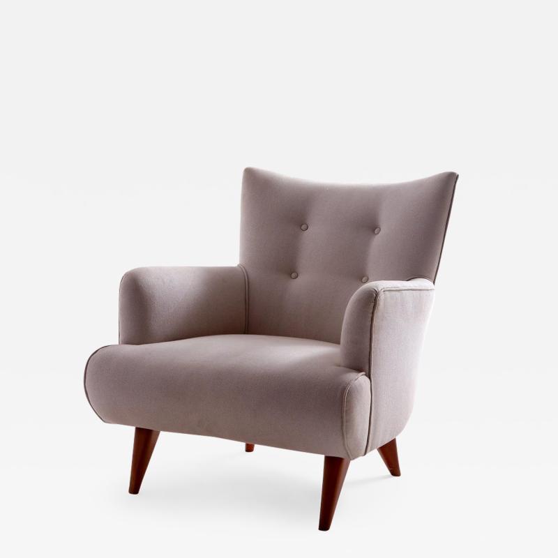 Joaquim Tenreiro Mid Century Modern Upholstery Lounge Chair by Joaquim Tenreiro Brazil 1956