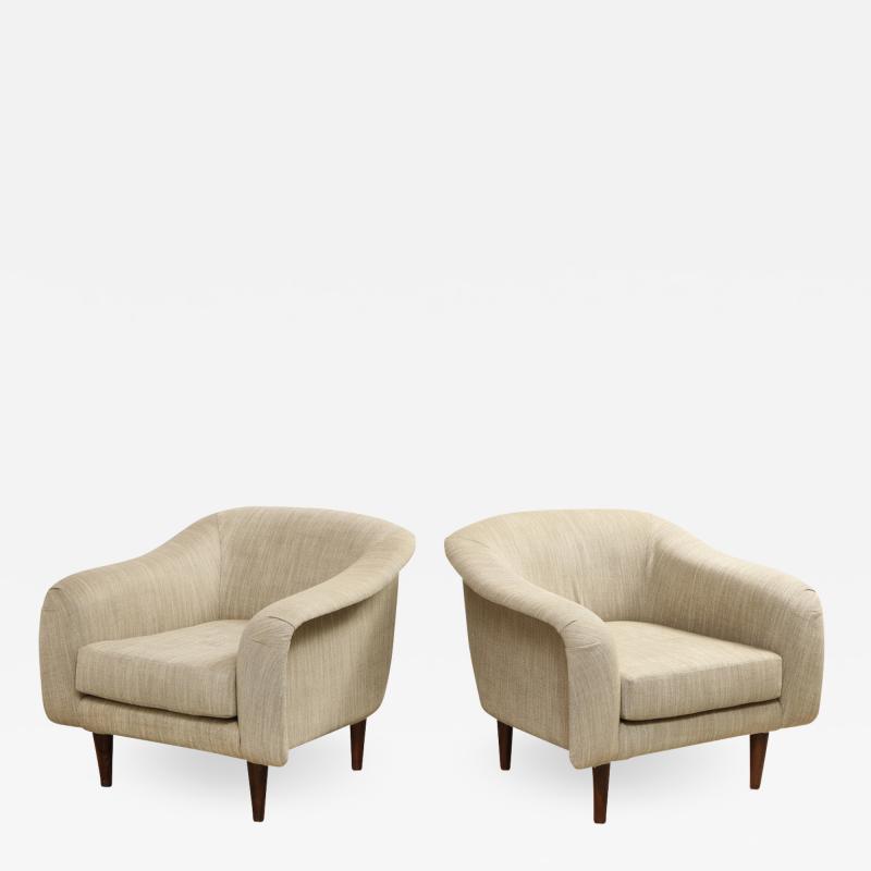 Joaquim Tenreiro Pair of Curved Lounge Chairs by Joaquim Tenreiro