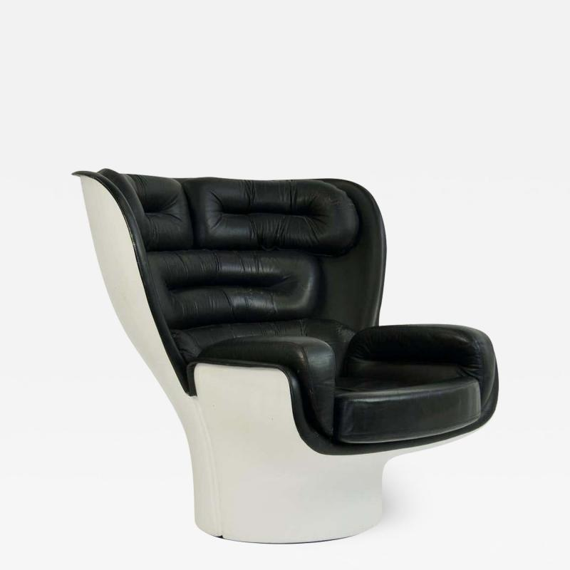 Joe Colombo 1960s Joe Colombo Black Leather Elda Chair