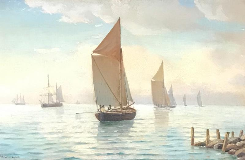 Johan Neumann 1860 1940 Danish Seascape With Ships